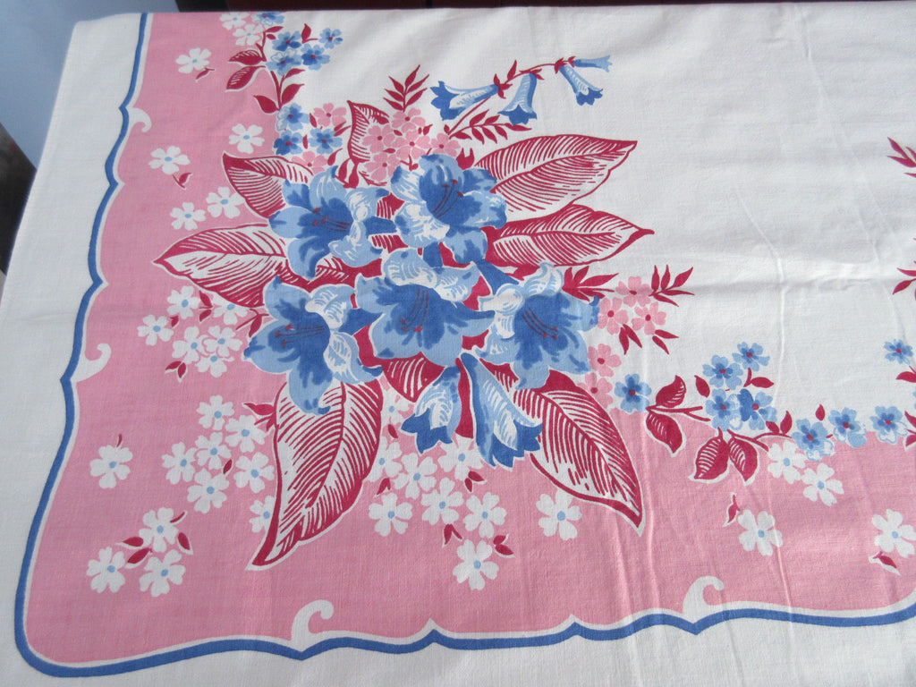 Stunning Blue Lilies Floral on Pink Vintage Printed Tablecloth (62 X 52)
