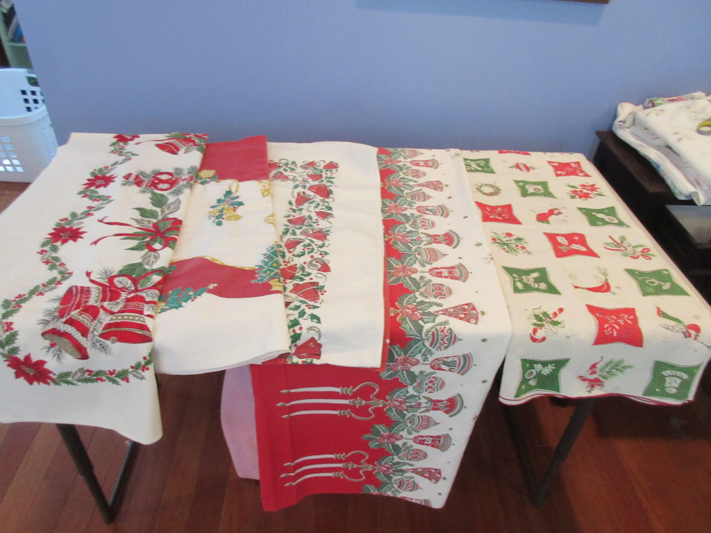 Christmas Cutter Lot RANDOM Vintage Printed Tablecloth i0174 i9639 a2003 i0174
