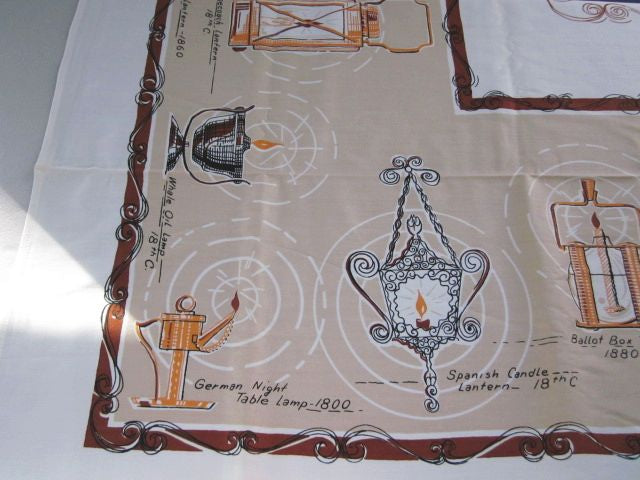 Lights and Lanterns MWT Novelty Vintage Printed Tablecloth (66 X 49)