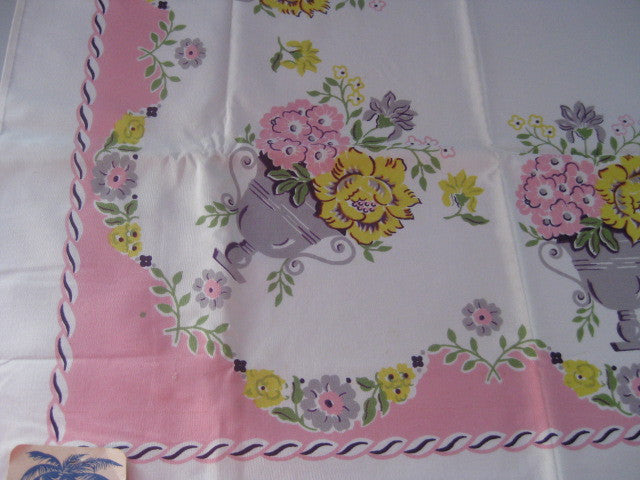 Damaged CHP Pink Floral Urns NWT Napkins Vintage Printed Tablecloth (72 X 53 per label)