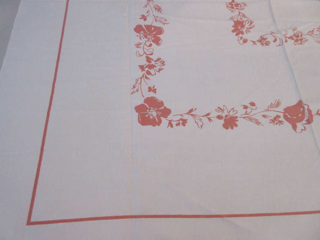 Shabby Early Coral Poppies Poppy Floral Vintage Printed Tablecloth (50 X 46)
