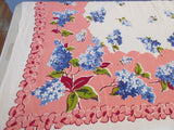 Larger Rayon Blue Lilacs on Coral Floral Vintage Printed Tablecloth (62 X 50)