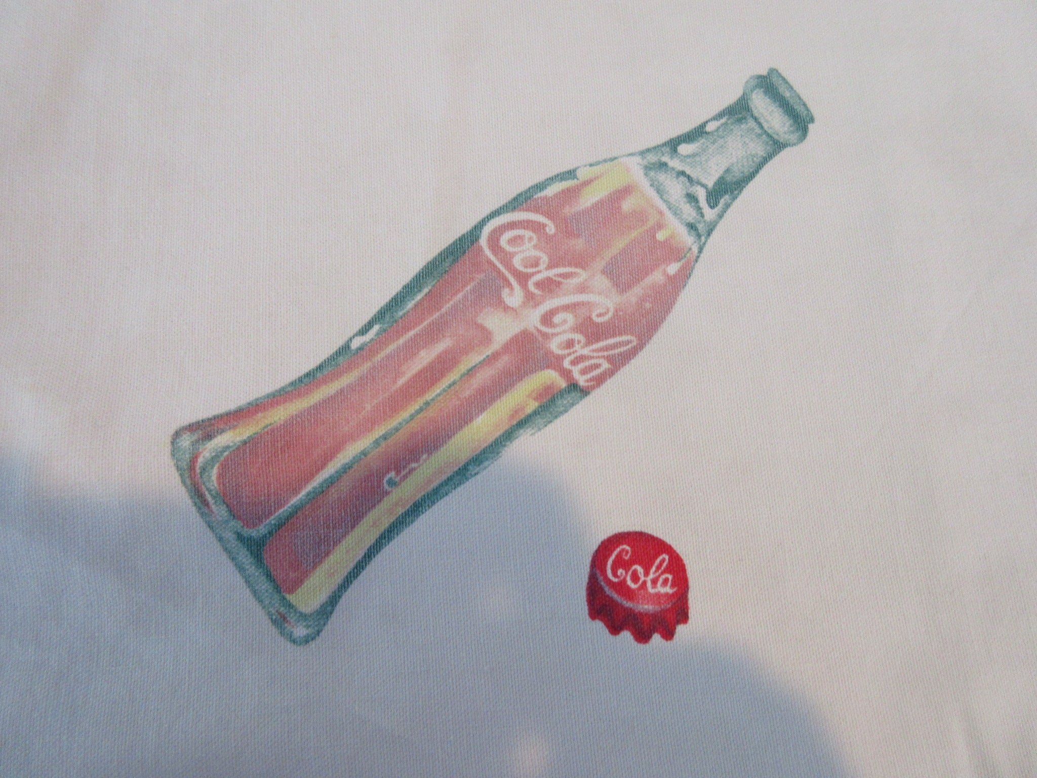 Odd Cool Cola Yardage? Novelty Vintage Printed Tablecloth (68 X 45)
