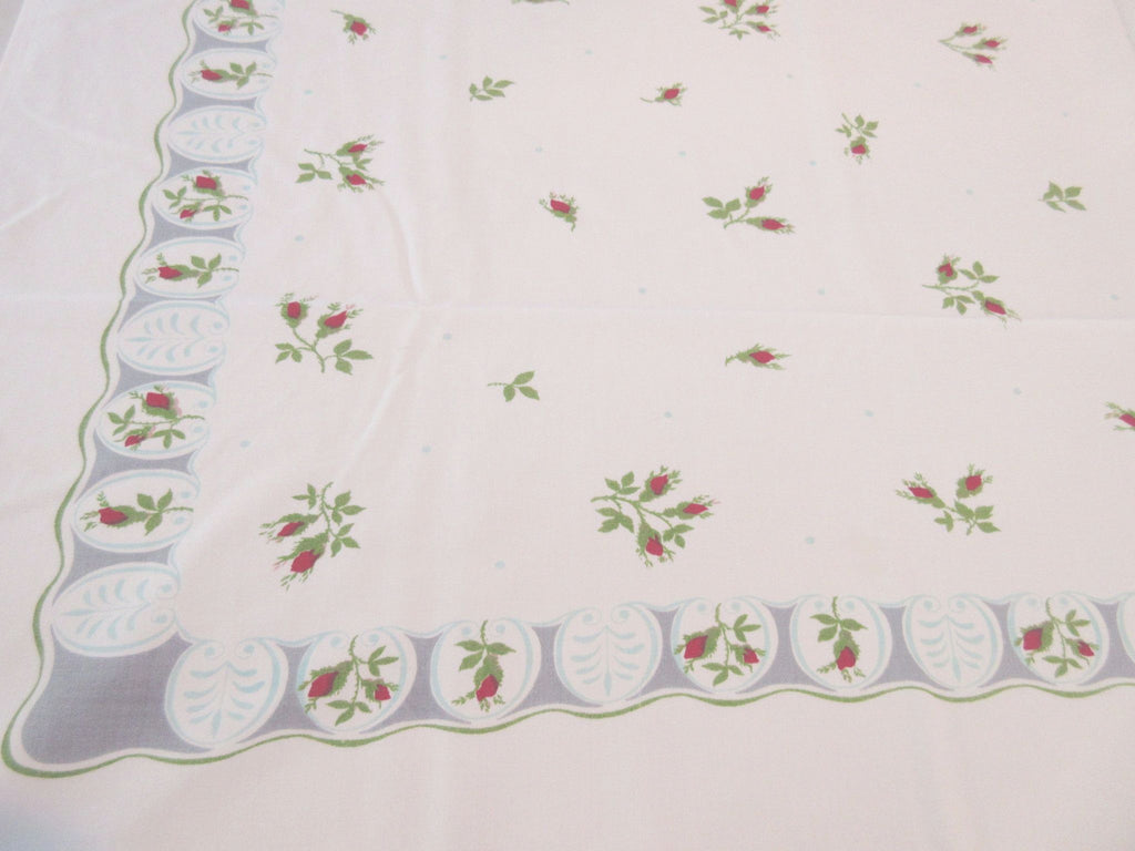 Petite Red Roses on Gray Turquoise Floral Vintage Printed Tablecloth (51 X 44)