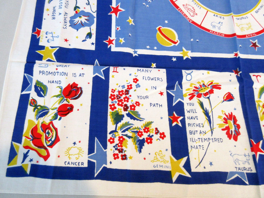 Zodiac Horoscope Birthday Flowers Sayings Topper Novelty Vintage Printed Tablecloth (35 X 33)