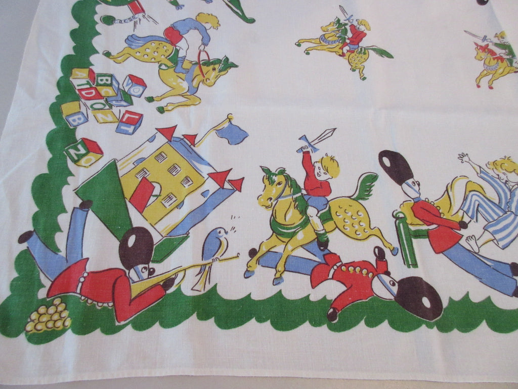 HTF Damaged Children's Toys Playroom on Green Novelty Vintage Printed Tablecloth (50 X 48)