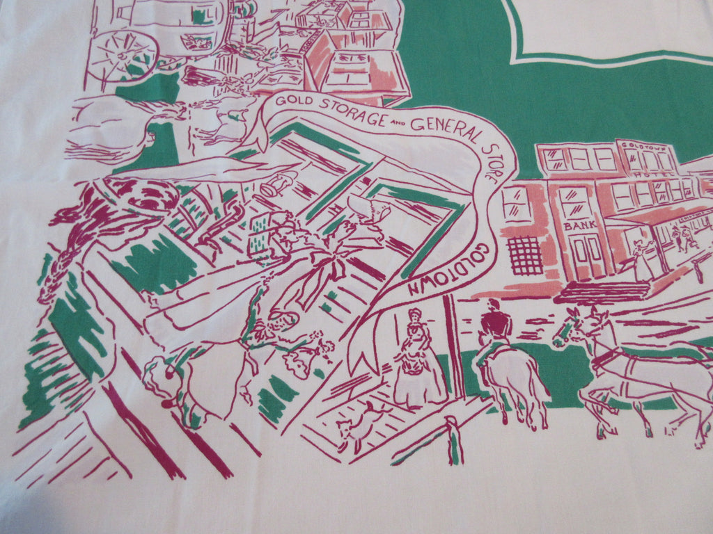 HTF Simtex Gold Rush Frontier on Green Novelty Vintage Printed Tablecloth (52 X 46)