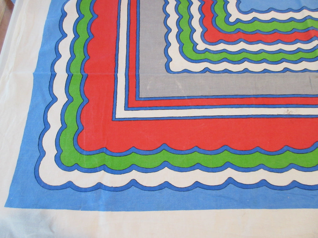 Mod Waves Red Blue Green Gray Novelty Vintage Printed Tablecloth (49 X 46)