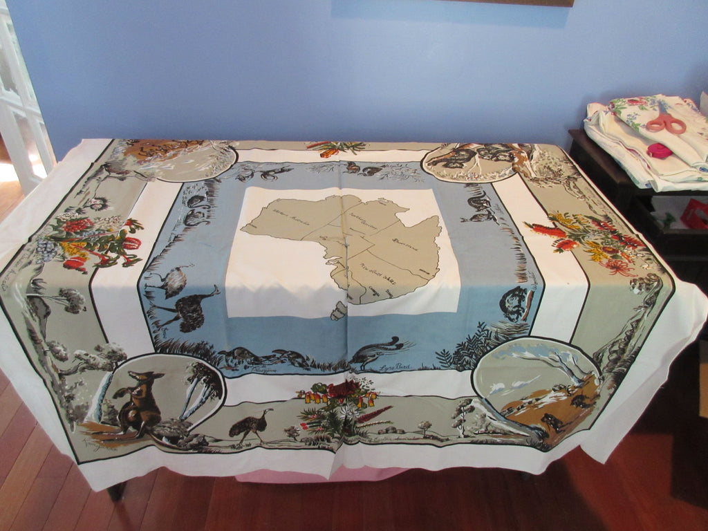 Unwashed AUSTRALIA Souvenir Novelty Vintage Printed Tablecloth (50 X 50)
