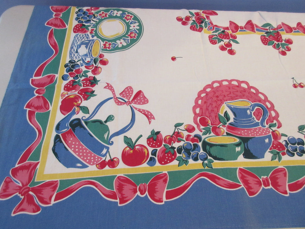 HTF REPRODUCTION Broderie Dishes Teapots Novelty Vintage Printed Tablecloth (66 X 49)