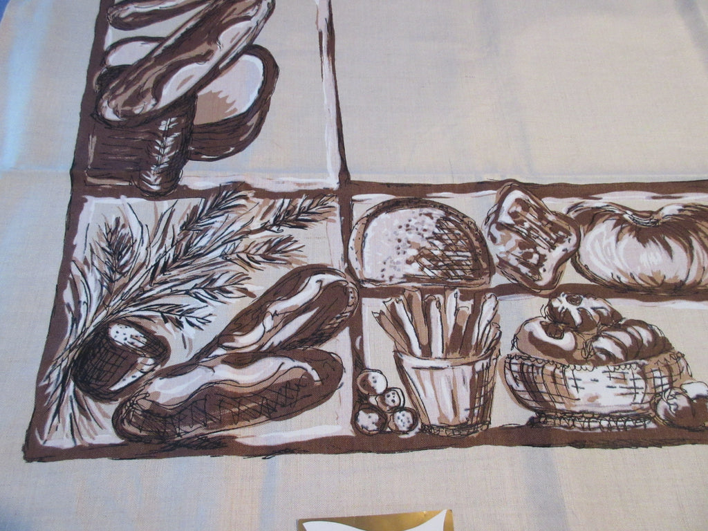 Bread Brown Bakery Fall MWT Linen Novelty Vintage Printed Tablecloth (71 X 52)