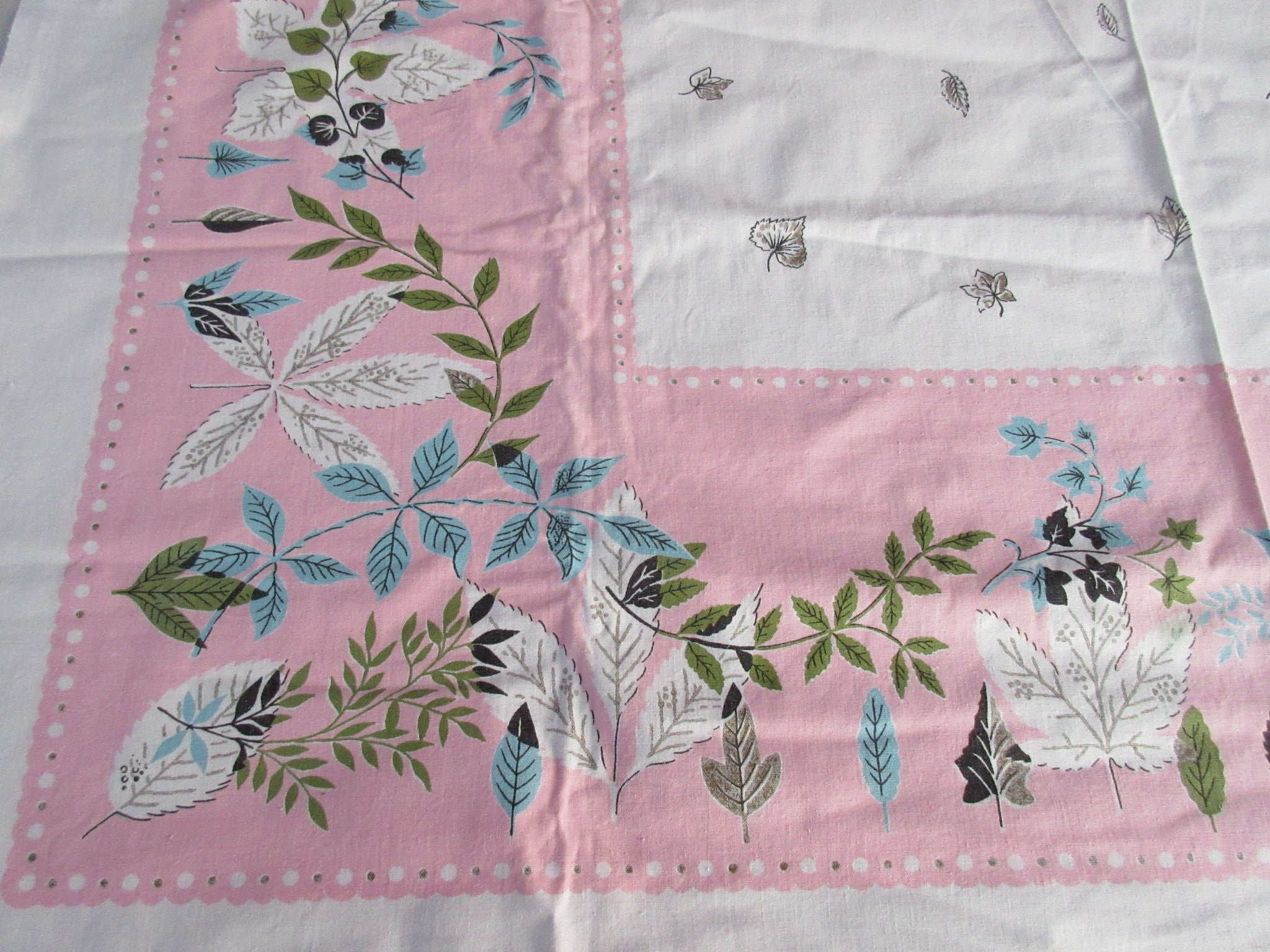 Leaves on Pink Cutter? Novelty Vintage Printed Tablecloth (49 X 45)