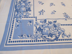 Early Two Color Fruit Salad on Blue Vintage Printed Tablecloth (63 X 52)