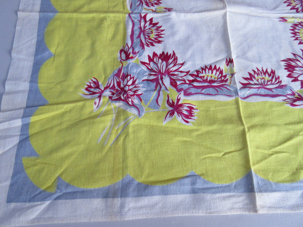 Gray Magenta Yellow Waterlilies Topper Floral Vintage Printed Tablecloth (33 X 31)
