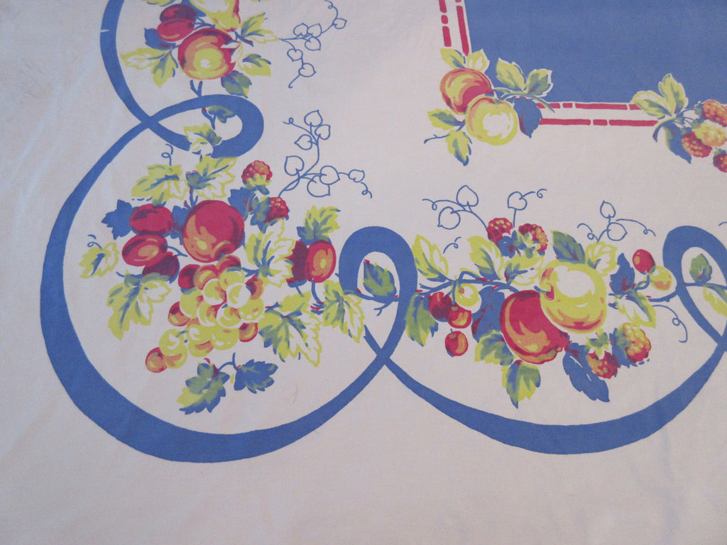 Heavy Apples Fruit Swoops on Blue Vintage Printed Tablecloth (69 X 56)