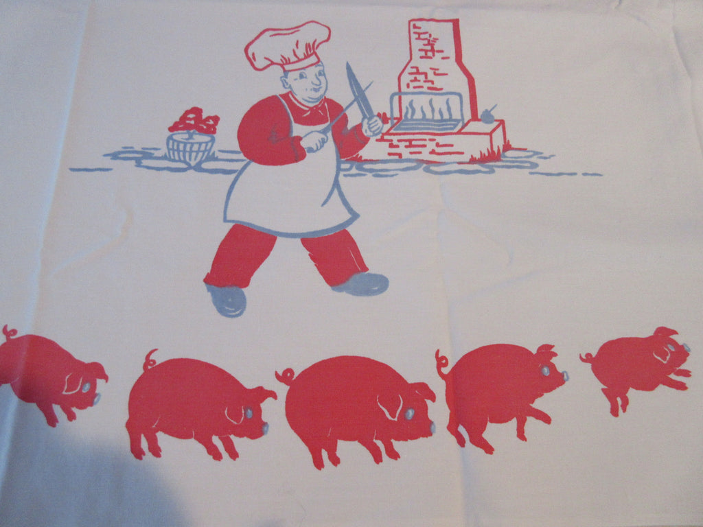 HTF Picnic Pigs Butcher Cookout Novelty Vintage Printed Tablecloth (85 X 35)