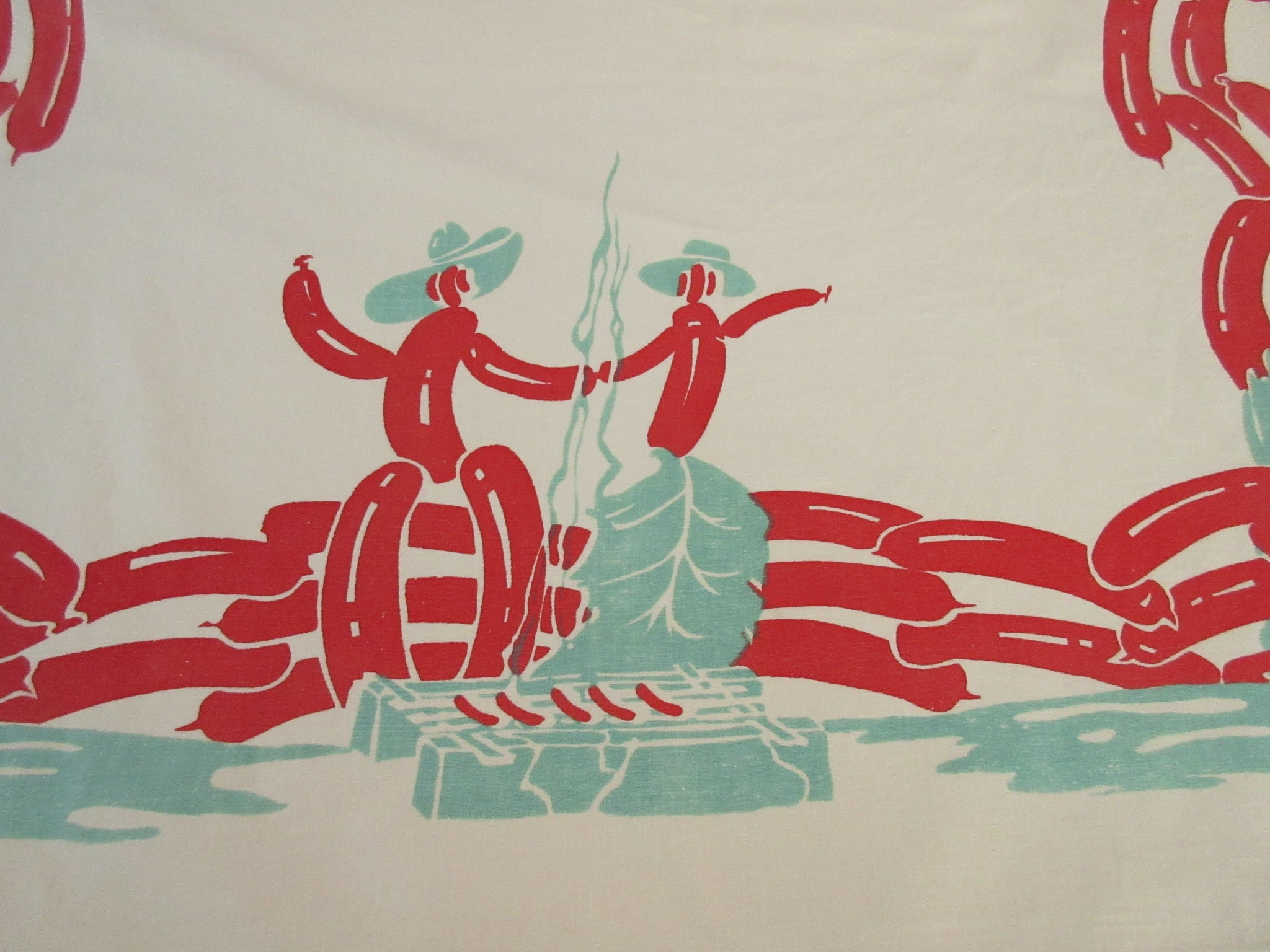Rare IMPERFECT Hot Dog Cowboy Horse Novelty Vintage Printed Tablecloth (80 X 35)
