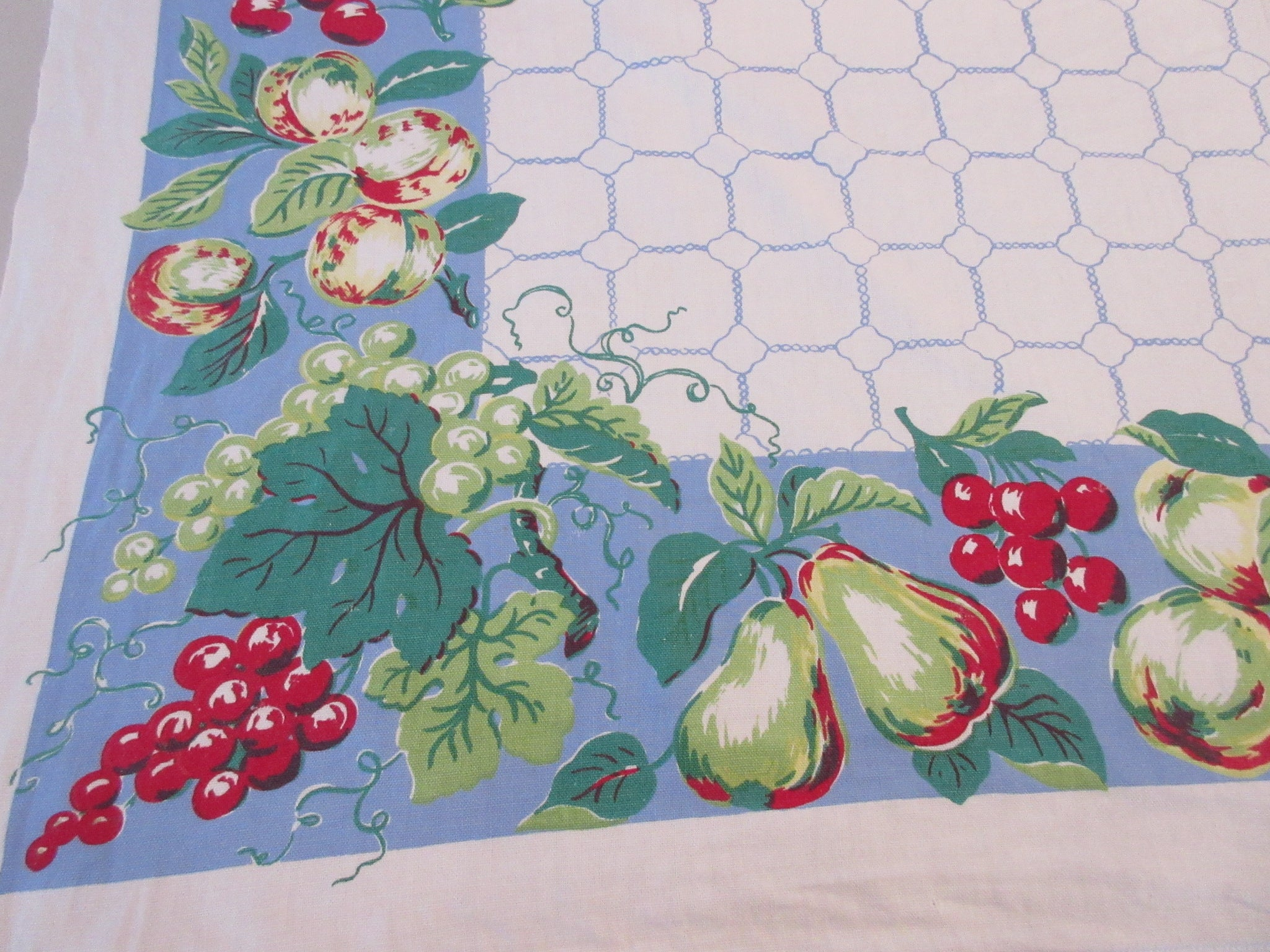 Parisian Prints Pretty Fruit on Blue Vintage Printed Tablecloth (52 X 48)
