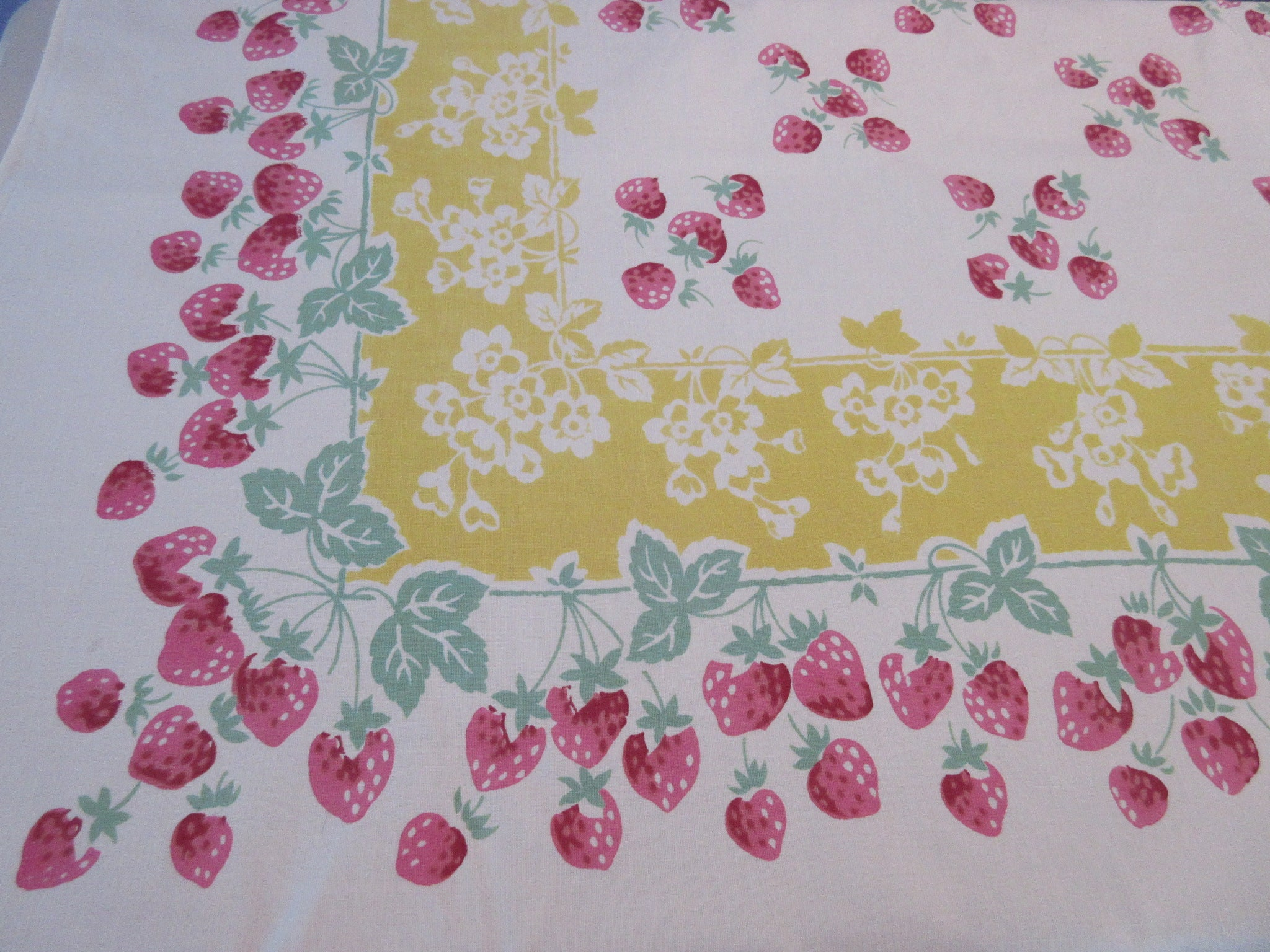 Bright Pink Strawberries on Yellow Fruit Vintage Printed Tablecloth (63 X 52)