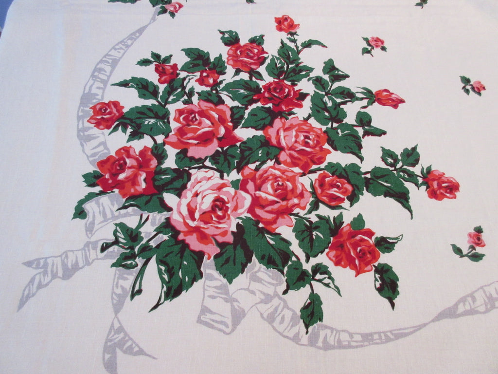 Bright Pink Roses on Gray Ribbons Linen Floral Vintage Printed Tablecloth (75 X 58)