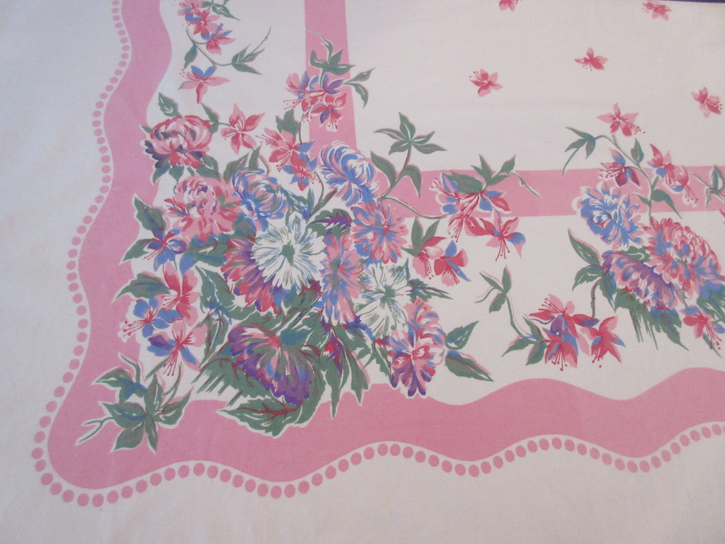 Large Pastel Chrysanthemums on Pink Floral Vintage Printed Tablecloth (69 X 57)