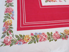 Colorful Pink Yellow Roses on Red Floral Vintage Printed Tablecloth (67 X 50)