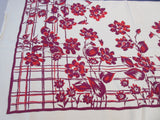 Red Magenta Roses on YELLOW Background Floral Vintage Printed Tablecloth (48 X 45)