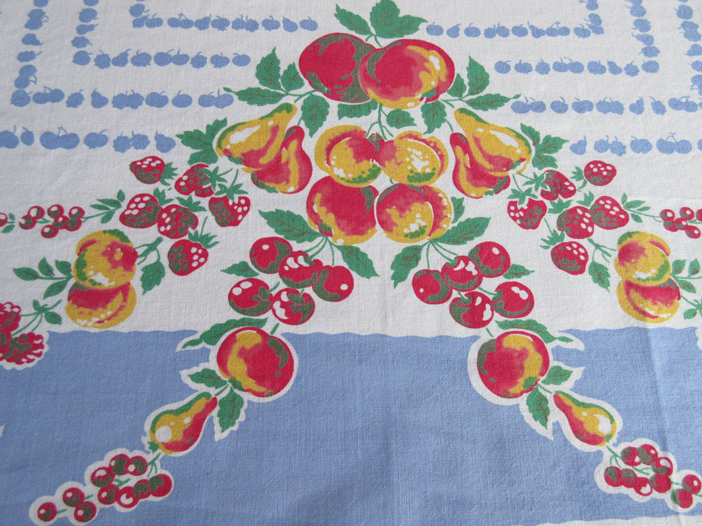 Primary Apple Pears Fruit on French Blue Vintage Printed Tablecloth (52 X 47)