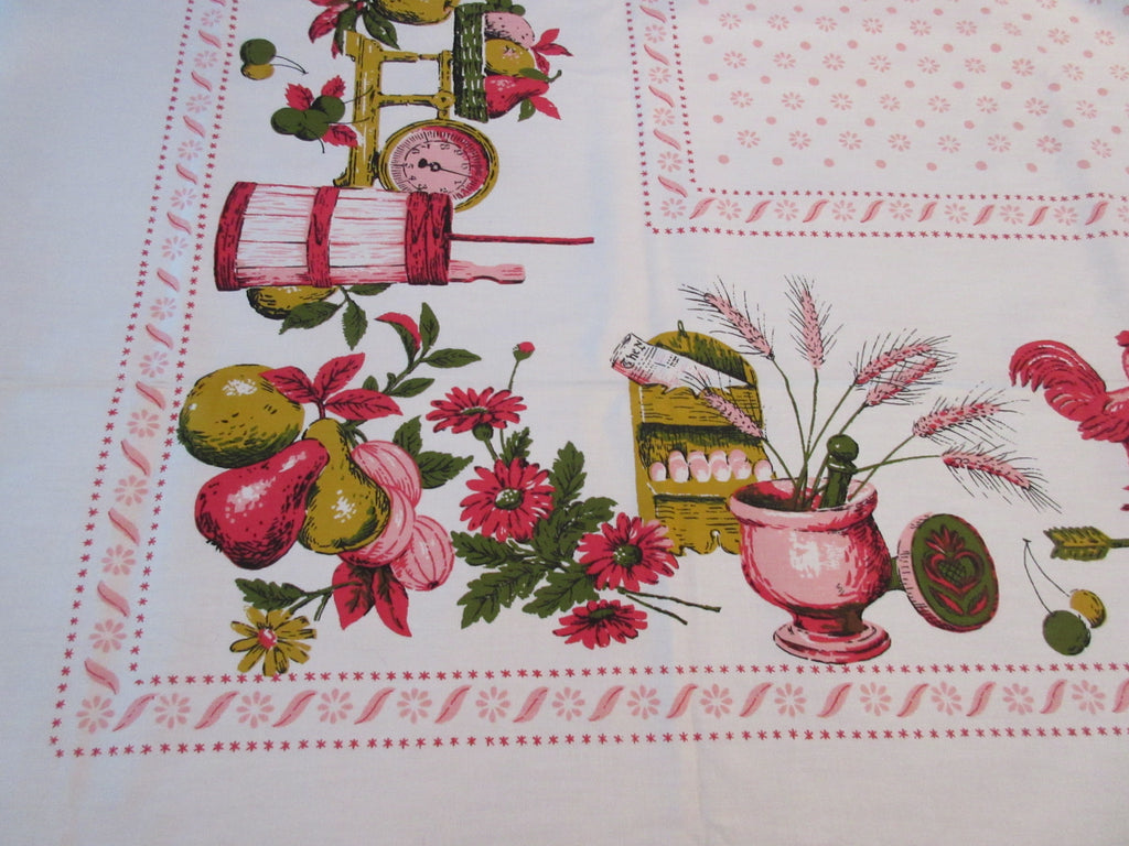Unwashed Pink County Fair Colonial Novelty Vintage Printed Tablecloth (80 X 61)
