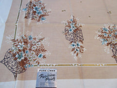 Fall Brown Teal GOLD Flowers on Tan Floral Vintage Printed Tablecloth (51 X 50)