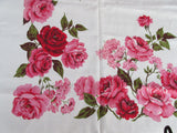 Unwashed Red Pink Roses Linen Floral Vintage Printed Tablecloth (52 X 50)
