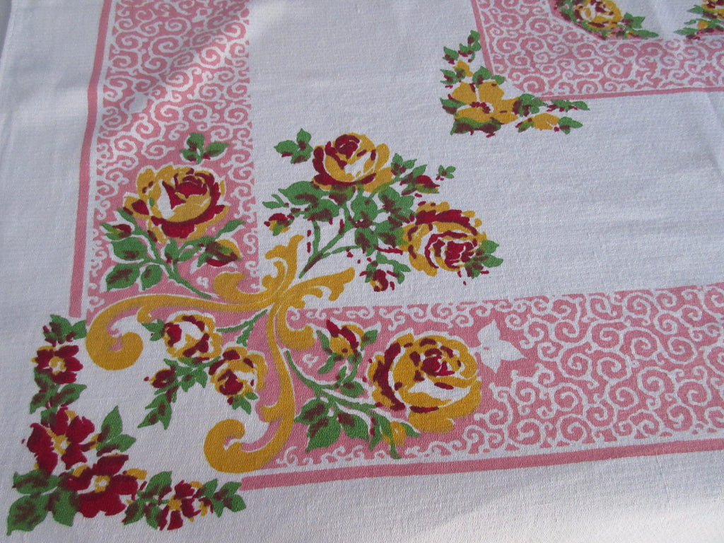 Unusual Yellow Roses Pink Scrolls Floral Vintage Printed Tablecloth (50 X 45)