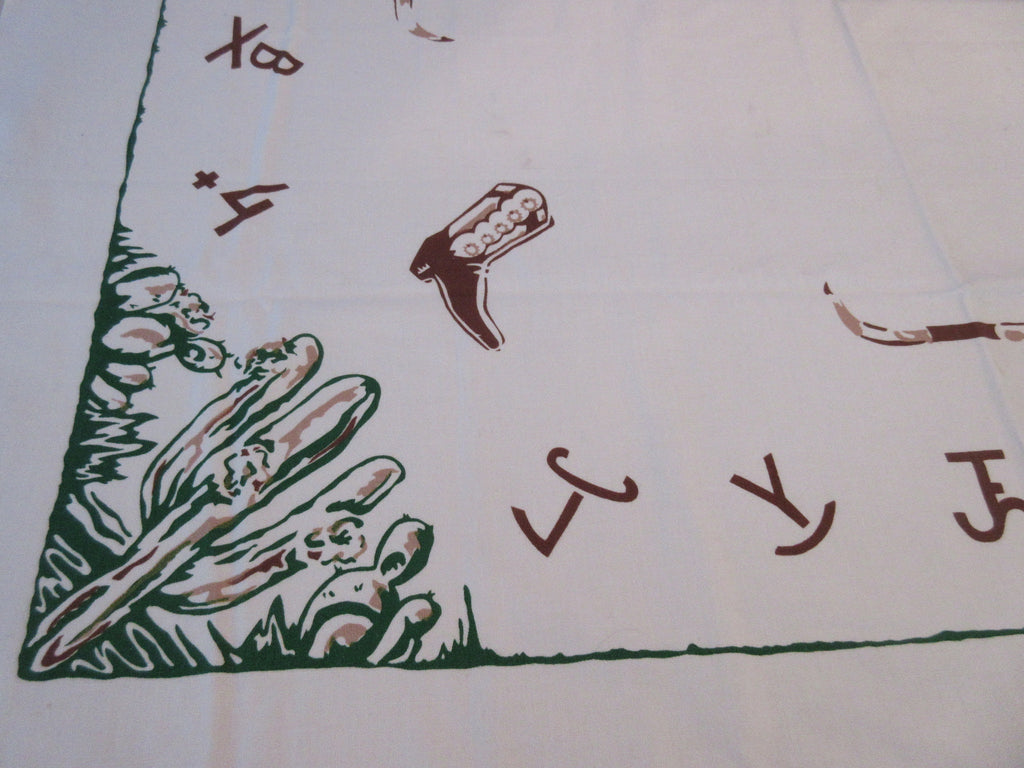 Rare Brands Cowboy Boots Cactus Western Novelty Vintage Printed Tablecloth (51 X 50)
