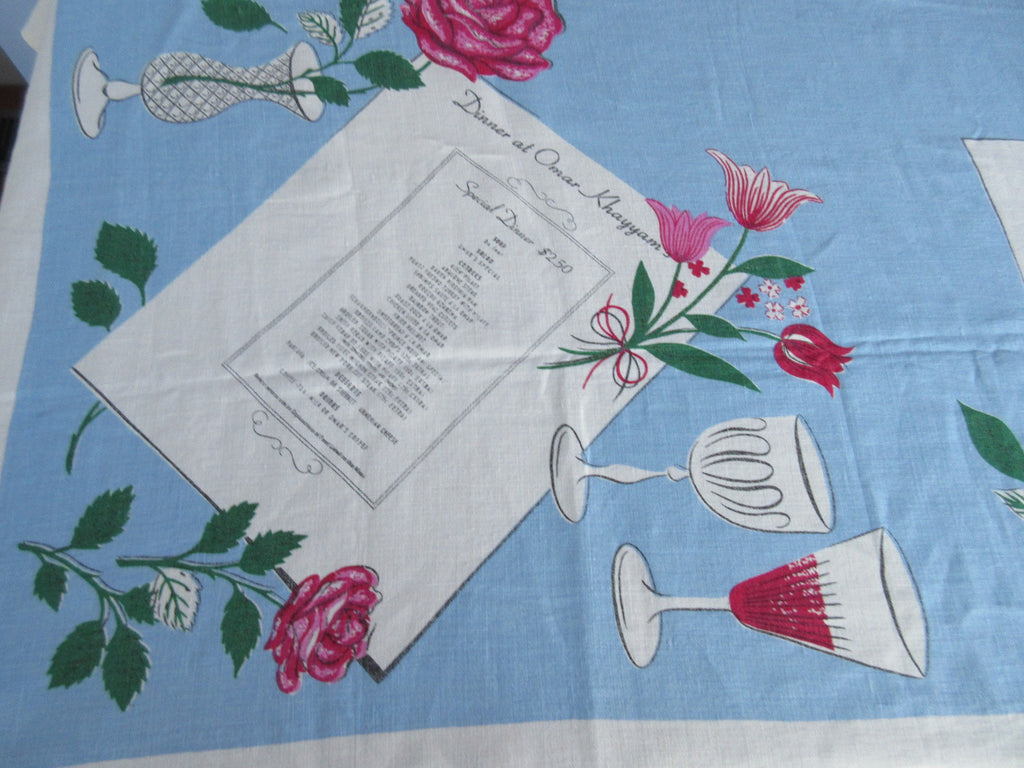 New Orleans Menus Blue Linen Novelty Vintage Printed Tablecloth (67 X 49)