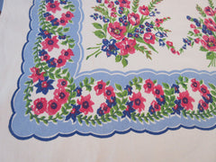Heavy Absorbent Pink Tulips on Blue Floral Vintage Printed Tablecloth (61 X 49)