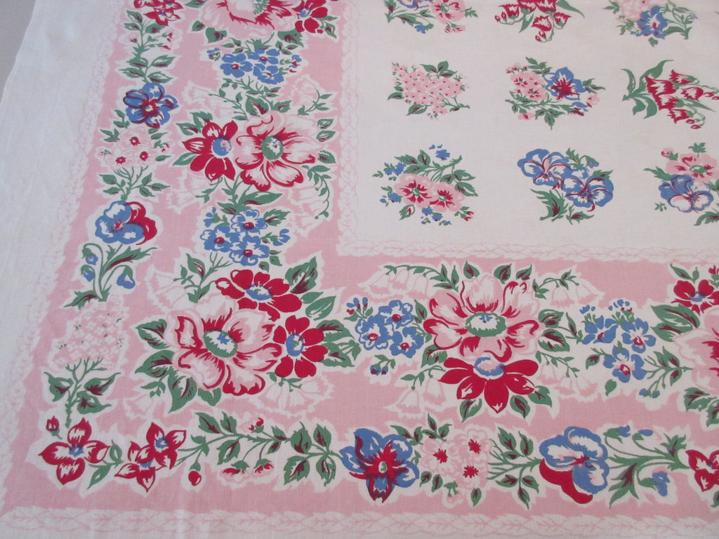 Blue Wild Roses on Pink Floral Vintage Printed Tablecloth (52 X 47)