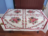 Smudgy Pink Floral MWT Vintage Tablecloth (52 X 50)