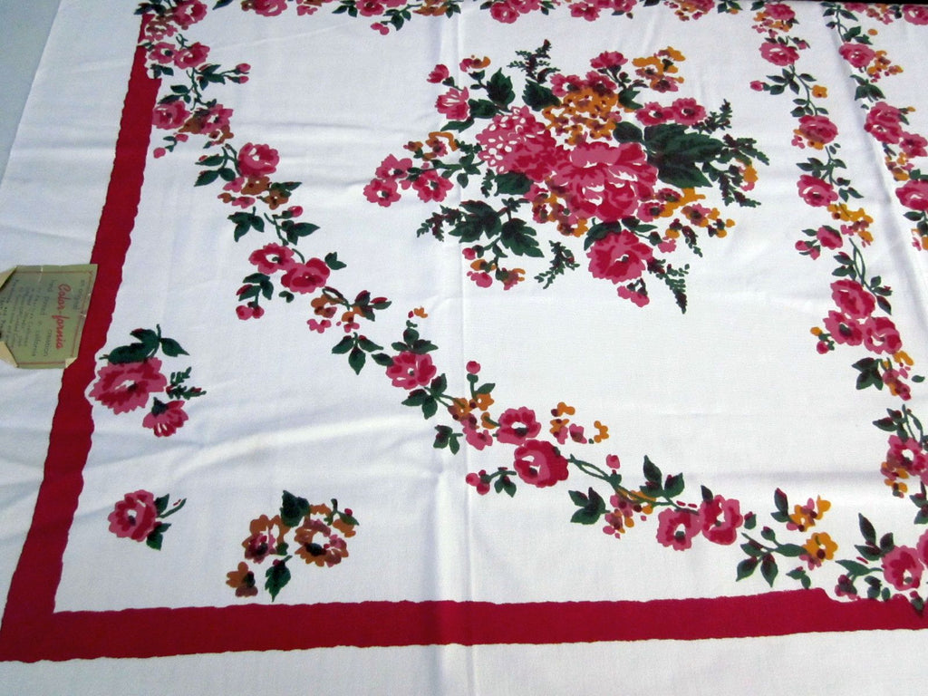 Smudgy Pink Wild Roses Floral MWT Vintage Tablecloth (52 X 50)