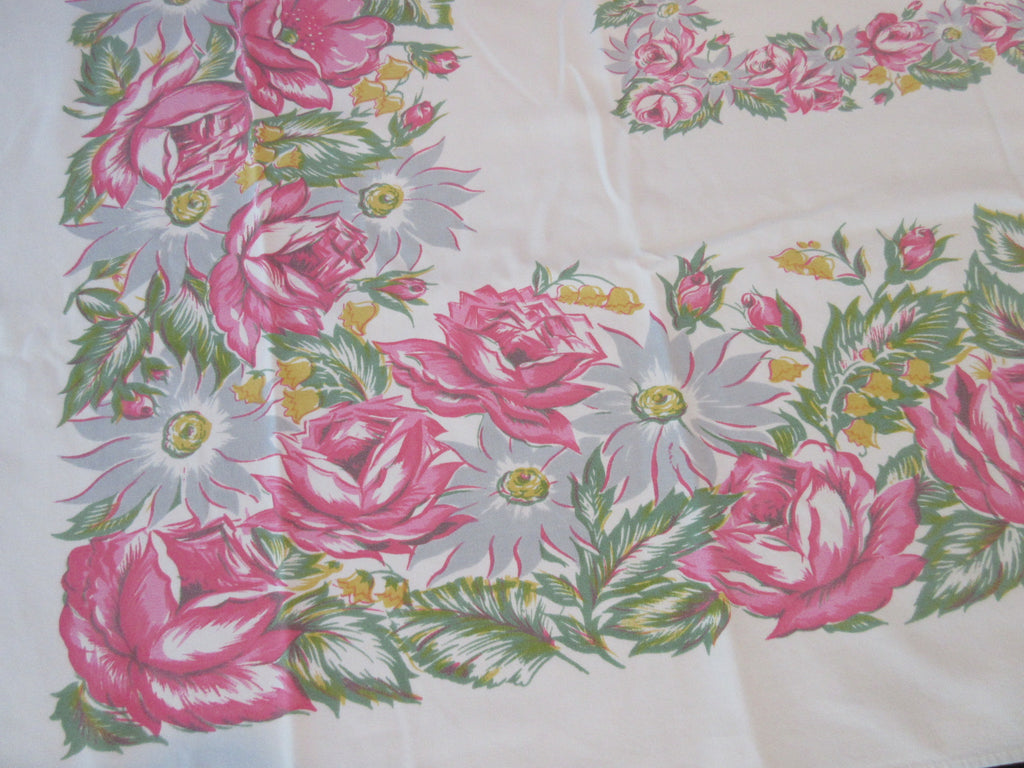 Soft Pink Roses White Daisies Floral Vintage Printed Tablecloth