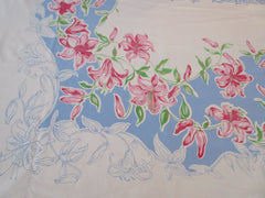 Bright Pink Tiger Lilies on Blue Giant Floral Vintage Printed Tablecloth (81 X 72)