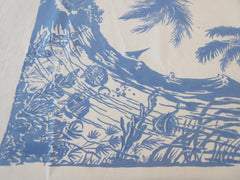 Unusual Damaged Blue Hawaii Territory Novelty Vintage Printed Tablecloth (52 X 47)