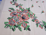 Unwashed Pink Green Floral Vintage Printed Tablecloth (48 X 48)