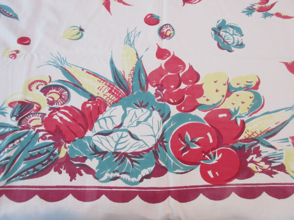 Shabby Early Victory Garden Vegetables on Magenta Vintage Printed Tablecloth (51 X 44)