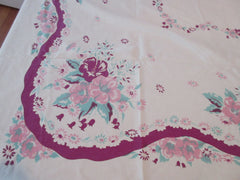 Pink Jadite Flowers on Magenta Cutter Floral Vintage Printed Tablecloth (71 X 52)