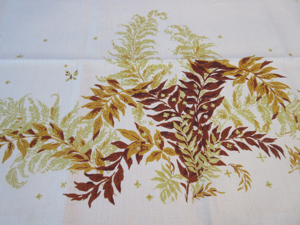 Fall Golden Green Ferns On Linen MWT Napkins Floral Vintage Printed Tablecloth