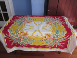 Red Yellow Foxgloves Floral Vintage Printed Tablecloth (55 X 46)