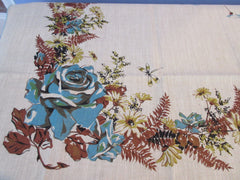 60s Teal Roses Brown Ferns on Tan Linen MWT Napkins Floral Vintage Printed Tablecloth