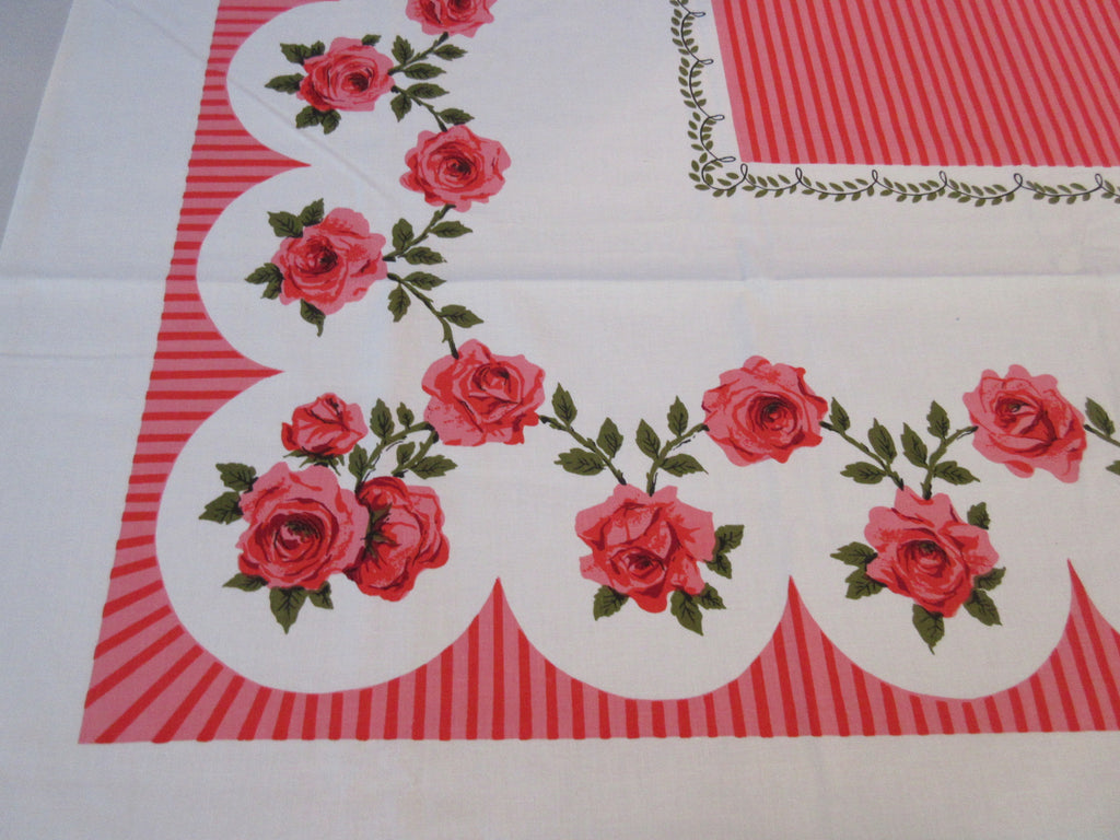 Unwashed Simtex Red Pink Roses Napkins Floral Vintage Printed Tablecloth (52 X 50)