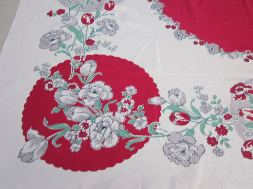 Red Gray Carnations Floral Vintage Printed Tablecloth (53 X 48)
