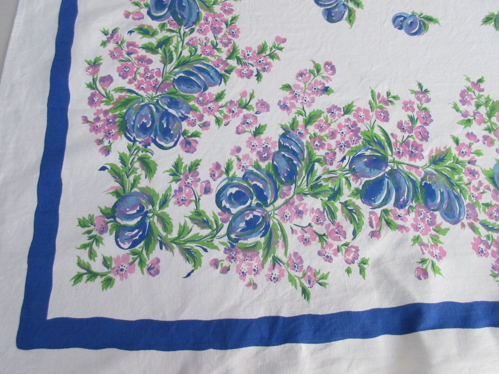 Blue Plums Pink Blossoms Fruit Vintage Printed Tablecloth (60 X 51)